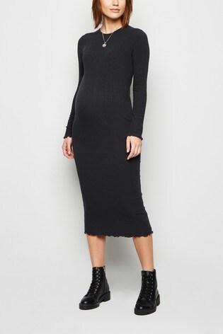 New Look Maternity Ribbed Long Sleeve Midi Dress