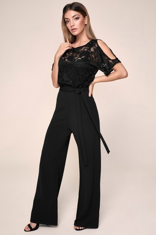 Lipsy Lace Cold Shoulder Jumpsuit