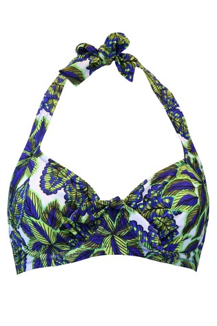 Pour Moi Printed Blue Heatwave Halter Underwired Top E+