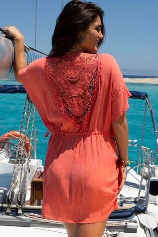 Pour Moi Coral Crochet Lace Back Detail Cover Up