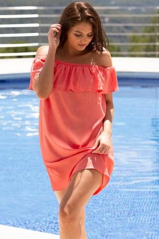 Pour Moi Coral Textured Bardot Beach Dress
