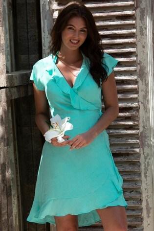 Pour Moi Mint Textured Frill Wrap Beach Dress