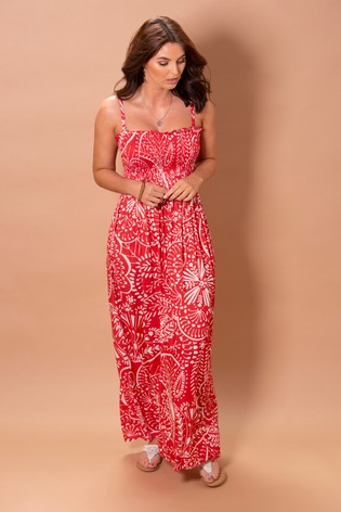 Pour Moi Red Removable Straps Shirred Bodice Maxi Dress