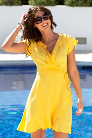 Pour Moi Yellow Textured Frill Wrap Beach Dress