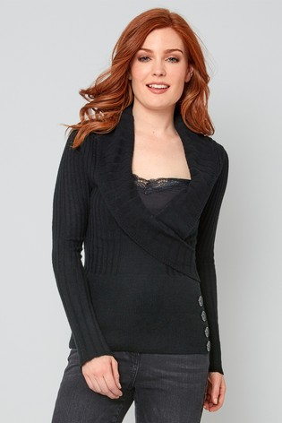 Joe Browns Ribbed Wrap Look Jumper