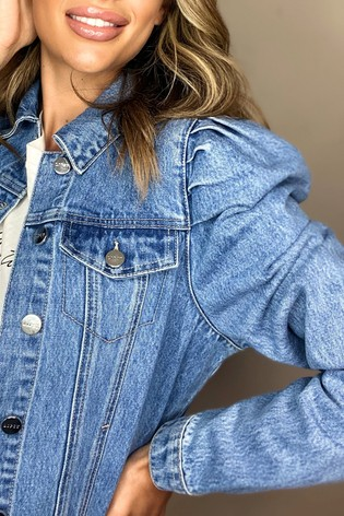 Lipsy Blue Puff Sleeve Denim Jacket