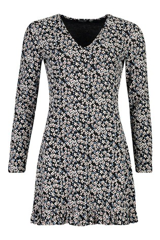 Boohoo Multi Colour Ditsy Floral Long Sleeves Frill Hem Dress