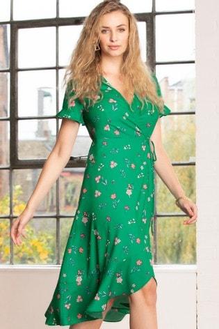 Pour Moi Green Frill Detail Woven Midi Wrap Dress