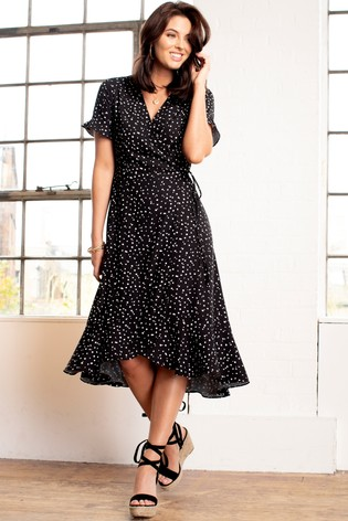 Pour Moi Black Frill Detail Woven Midi Wrap Dress