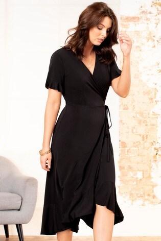 Pour Moi Slinky Jersey Frill Detail Midi Wrap Dress