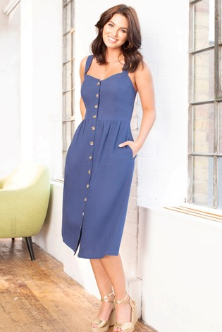 Pour Moi Navy Linen Blend Button Front Sun Dress