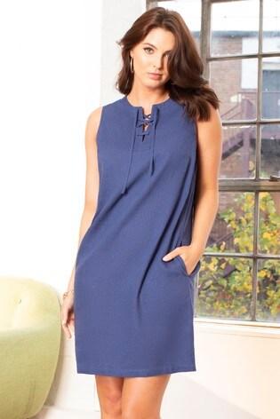 Pour Moi Navy Linen Blend Shift Dress