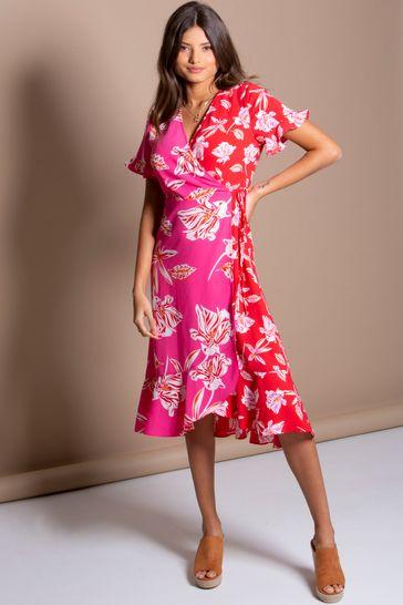 Pour Moi Pink Floral Frill Detail Woven Midi Wrap Dress