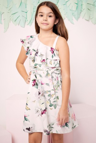 Lipsy Girl White Asymmetric Frill Dress