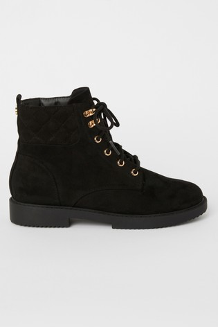 Lipsy Girl Lace Up Quilted Biker Boots