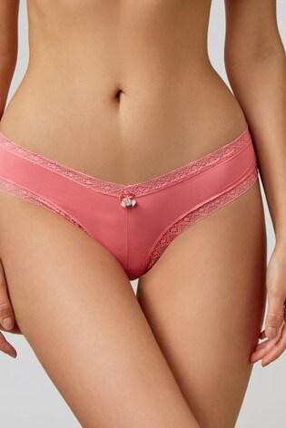 Boux Avenue Pink Lace Trim Brazilian