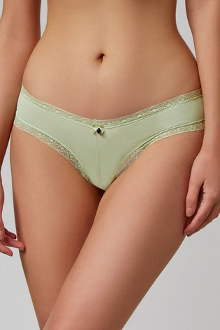 Boux Avenue Green Lace Trim Brazilian