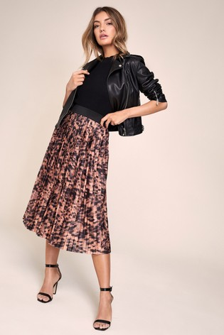 Lipsy Brown Pleated Skirt