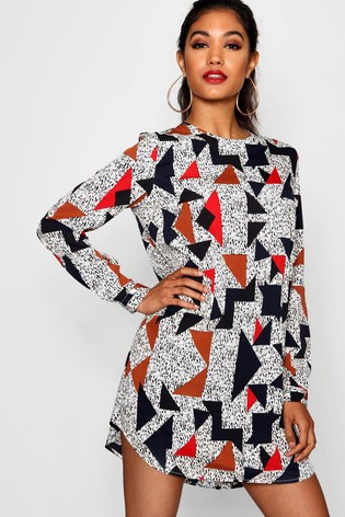 Boohoo Geometrical Print Long Sleeve Shift Dress