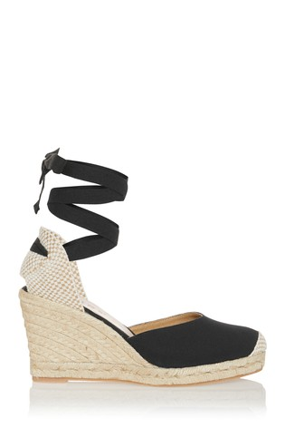 Office Wide Fit Black Tie Up Espadrille Wedge