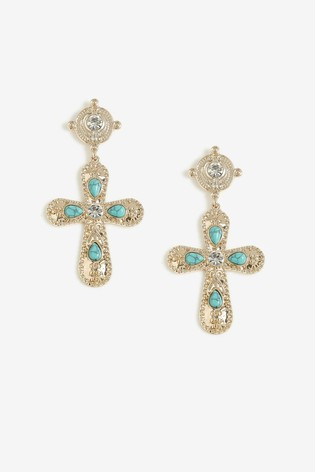 Freedom Turquoise And Crystal Stoned Cross Drop Earrings