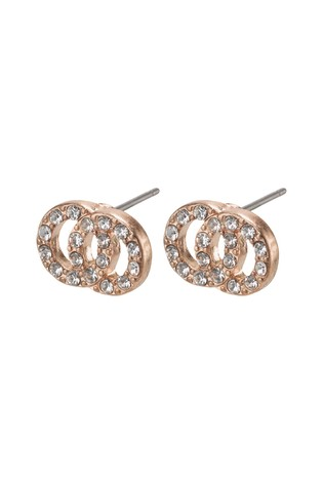 PILGRIM Rose Gold Elaine Plated Crystal Earrings