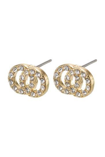 PILGRIM Gold Plated Elaine Plated Crystal Earrings