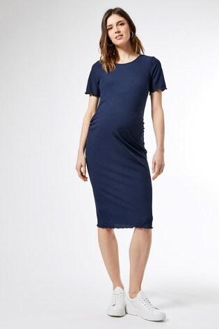 Dorothy Perkins Maternity Short Sleeve Lettuce Edge Rib Bodycon Midi  Dress