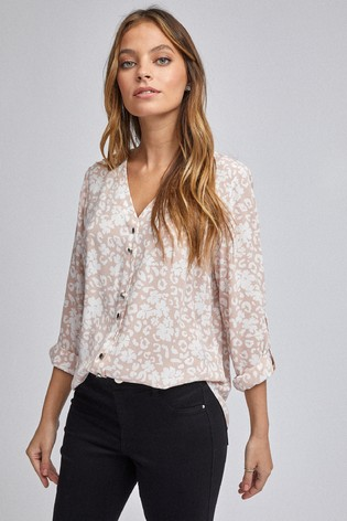 Dorothy Perkins Petite Animal Roll Sleeve Shirt