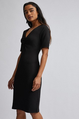 Dorothy Perkins Black Petite Ruched Front Bodycon Dress