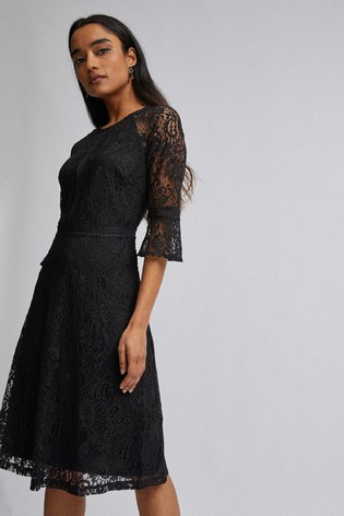 Dorothy Perkins Black Petite 3/4 Sleeves Tilly Lace Dress