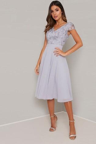 Chi Chi London Embroidered Bodice Midi Dress