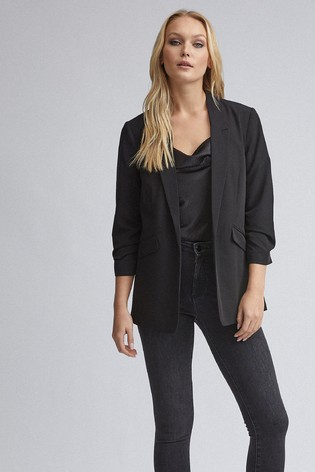 Dorothy Perkins Black Tall Ruched Sleeve Jacket