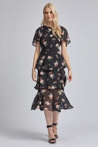 Dorothy Perkins Floral Angel Sleeved Tiered Midi Dress