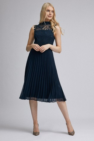 Dorothy Perkins Lace Top Pleated Midi Dress