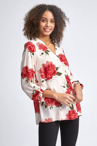 Dorothy Perkins Rose Print Double Button Class Roll Sleeves Shirt