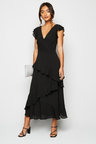 New Look Petite Wrap Front Frill Midi Dress
