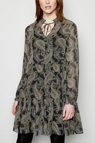 New Look Tall Paisley Chiffon Smock Dress