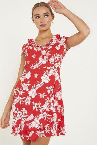 Quiz Red Floral Wrap Dress
