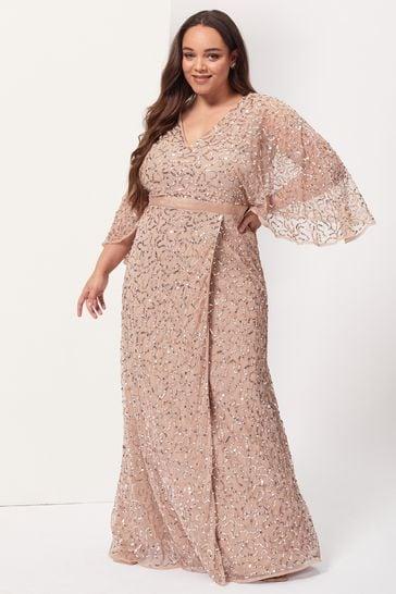Maya Blush Plus Wrap Neck Kimono Sleeve Maxi Dress