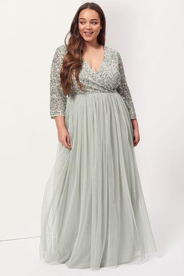 Maya Green Curve V-Neck Long Sleeve Maxi Dress