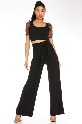 Quiz Black High Waisted Palazzo Trousers