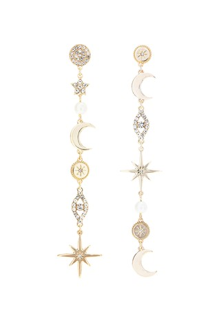 Lipsy Gold Plated Celestial Miss Match Drop Earrings