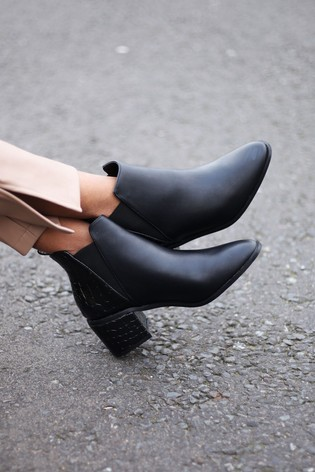 Linzi Black Faux Leather and Faux Croc Pull On Block Heeled Ankle Boot