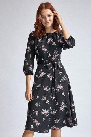 Dorothy Perkins Tie Waist 3/4 Sleeve Floral  Midi Dress