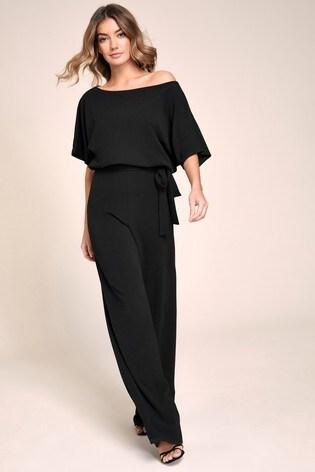 Lipsy Black Kimono Tie Jumpsuit