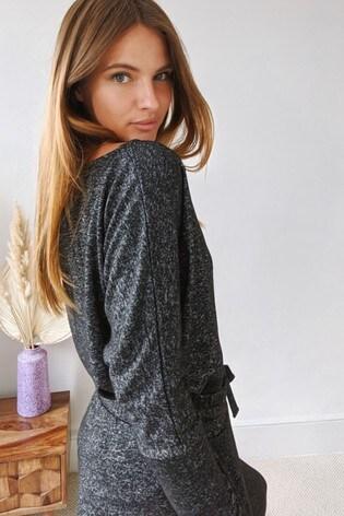 Sosandar Grey Super Soft Batwing Sleeve Top
