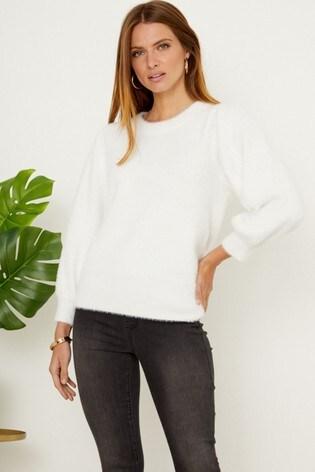 Sosandar White Fluffy Blouson Sleeve Fine Knit Jumper