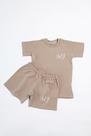 Personalised Tan Shorts & T-Shirt Set by Forever Sewing