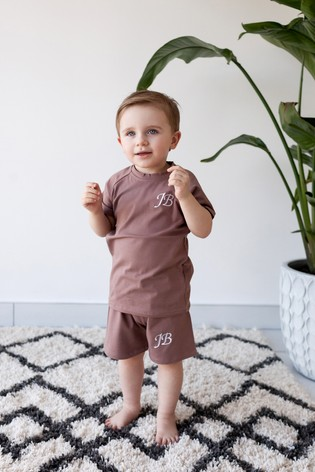 Personalised Brown Shorts & T-Shirt Set by Forever Sewing